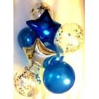 Воздушные шары (1 звезда серебряная, 1 синяя, 3 шара синие d=30 см, 3 шара с наполнителем из серебряных звёзд)