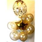 Воздушные шары (1 звезда золотая, 5 шаров золотых d=30 см, 1 большой шар с наполнителем из золотых звёзд)