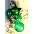 Воздушные шары (1 звезда серебряная, 1 зеленая, 3 шара зеденые d=30 см, 3 шара с наполнителем из серебряных звёзд)