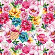 """Упаковочная бумага  (100х70 см) Эд-УБ-360 """"Розовые цветы"""" 5 шт."""