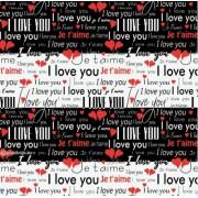 """Упаковочная бумага (100х70 см) Эд-УБ-385 """"I LOVE YOU"""" 5 шт."""