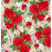 "Упаковочная бумага  (100х70 см) Эд-УБ-401 ""Розы"" 5 шт."