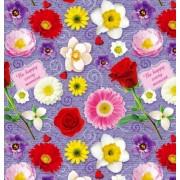 """Упаковочная бумага  (100х70 см) Эд-УБ-403 """"Цветы"""" 5 шт."""