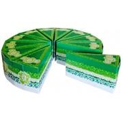 Бонбоньерка в виде куска торта Б-100 (зеленая, глиттер)