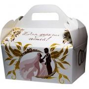 """Коробка свадебная """"Для дорогих гостей!"""" КС-04 (белая, золотые блестки, молодожены)"""