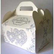 """Коробка свадебная """"Для дорогих гостей!"""" КС-08 (белая, серые сердца, глиттер)"""