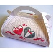 Коробка свадебная КС-09 (белая, платье, фрак в сердце, глиттер)