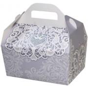 Коробка для гостинцев  КС-34 (белый узор, глиттер)