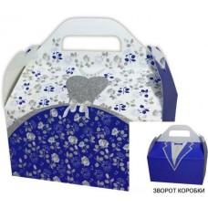 Коробка весільна КС-43 (синьо-біла, гліттер)