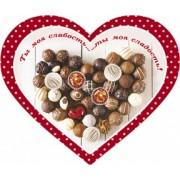 """Открытка-валентинка """"Ты - моя слабость!"""" (сердце, 15,5х12,5 см) - Открытка.ЮА. ОДн-0233/258 (накл. эл.)"""