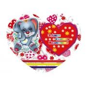 Валентинка-серце одинарна з накл. елем. (14х11 см, укр.) - Этюд НС-208у