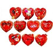 Валентинка-серце подвійна (8,5х8 см, 12 шт., укр.) - Экспресс Удачи V20-MSU золоте тиснення №1