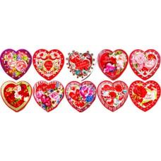 Валентинка-серце подвійна (8х7,5 см, 10 шт., укр.) - Экспресс Удачи V19-VPU