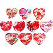 Валентинка-серце подвійна (8,5х8 см, 10 шт., укр.) - Экспресс Удачи V19-MSU гліттер